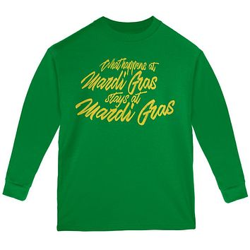 What Happens at Mardi Gras Stays Youth Long Sleeve T Shirt