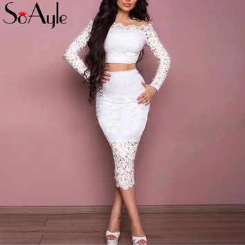 SoAyle 2017 New Cocktail Dresses Two Pieces Long Sleeves Lace Women's Bodycon Tea Length Party Gowns Boat Neck Vestidos De Festa