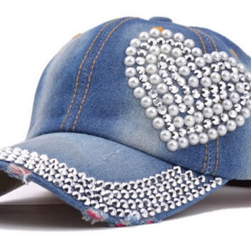 new snapbacks hats sport heart-shaped diamond pearl new cowboy bone torn jeans duck tongue baseball cap casquette cayler sons