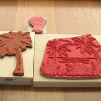 Rubber stamps palm trees 3 in lot