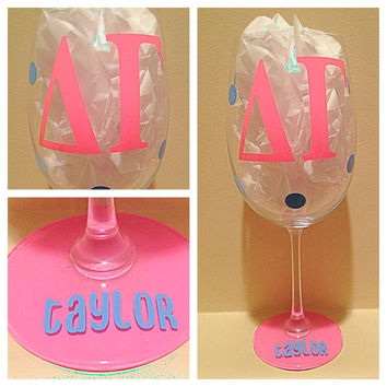 Delta Gamma, DG, Personalized Wine Glass, Sorority Wine Glass, Custom Wine Glass, Big WIne Glass, Little Wine Glass