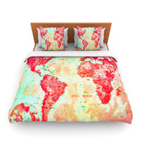 "Alison Coxon ""Oh The Places We'll Go"" World Map Fleece Duvet Cover"
