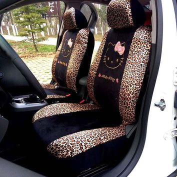 MUNIUREN 10pcs Cartoon Hello Kitty Universal Car Seat Covers for Women Zebra Print Auto Seat Protector Cover Accessories
