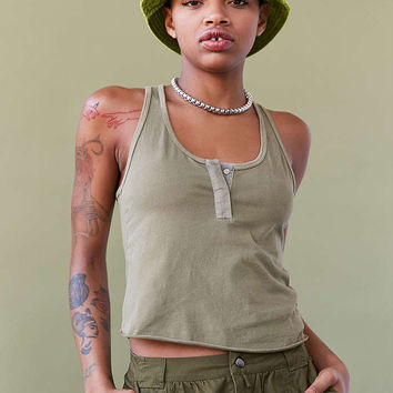 BDG Woven Placket Henley Tank Top - Urban Outfitters