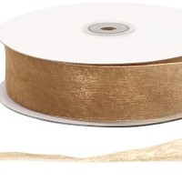 Offray Monofilament Edge Simply Sheer Asiana Craft Ribbon, 1-1/2-Inch Wide by 100-Yard Spool, Gold
