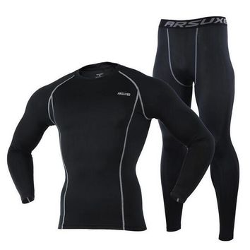 ARSUXEO Men's Training Long Sleeve Outdoor Sports Running Gym Fitness Tights Set Compression Base Layer Quick Dry Running Sets