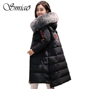 Smiao 2017 Phoenix Embroidery Women Winter Jacket Hooded Chinese Knot Button Faux Big Fur Collar Woman Parka Cotton Padded Coats