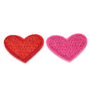 Hot Cute Solid Red Heart  Embroidered Iron On Or Sew On Patch HU