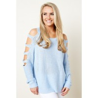 Social Ladder Baby Blue Sweater