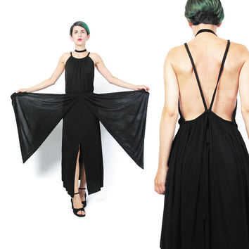 Black Draped Dress 1990s Designer Dominic Rompollo Dress Avant Garde Jersey Dress Goth Goddess Peplum Panels Strappy Backless Dress (S/M)