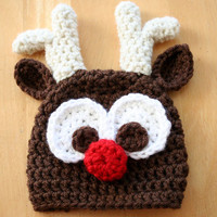 Rudolph Reindeer Hat, crochet photo prop, red nosed reindeer hat, brown, cream, 5T to Adult sizes
