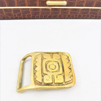 Aztec Design Brass Belt Buckle, Handcrafted, Vintage Belt Buckle