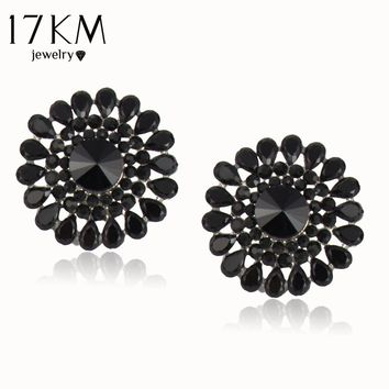 17KM Classic 2016 Brand Design Charm Simple Water Drop Resin Stud Earrings For Women Black Round Earrings Statement Accessory