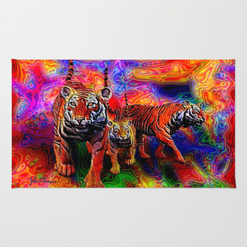Psychedelic Tigers Rug by JT Digital Art