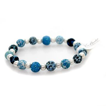 Jewelry BLUE BROOK SHIMMER BRACELET Clay Handmade Clay Beads Stretch 04405521