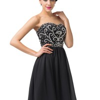 Grace Karin® Womne Strapless Sequins Short Evening Prom Party Dress CL6049 (6, Black)