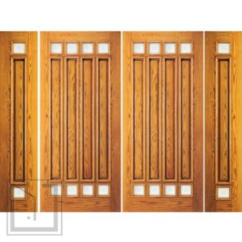 Prehung Mahogany 8 Lite Entry Double Door Two Side lights