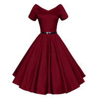 2016 Womens Summer Sexy V-Neck Party Dresses 50s 60s Vintage Retro Style Ladies Rockabilly Swing Red Black Blue Sweetheart Dress