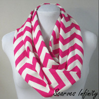 "Hot Pink Chevron Zig Zag Infinity Scarf  - Long Modern Circle Scarves - 7"" W  X  72"" L"