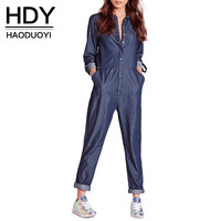 HDY Haoduoyi 2016 Autumn Women Fashion Elastic Waist Long Jumpsuits Casual Roll Up Sleeve Single Breasted Denim Jumpsuits