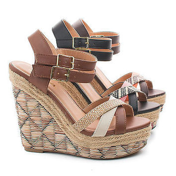 Vianca Brown Multi by Soda, Aztec Raffia Print Strappy Open Toe High Wedge Sandals