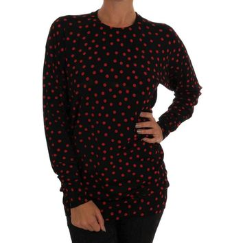 Dolce & Gabbana Black Wool Polka Dot Pullover Sweater