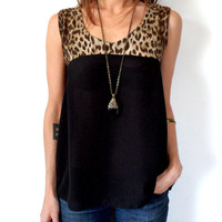 Sheer Black & Leopard Animal Print Tie Back Tank Top Reconstructed