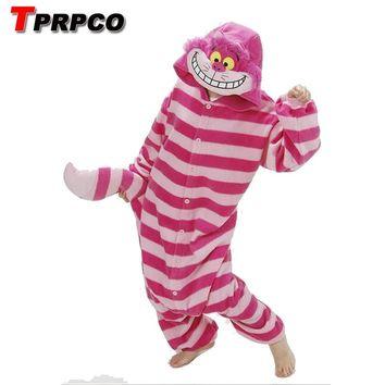 TPRPCO Winter New Sleepsuit Adults Cartoon Cheshire Cat Onesuits Unisex Onesuits Pajamas Cosplay Costumes NL189