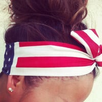 FREE SHIPPING American Flag Dolly Bow Wire Headband