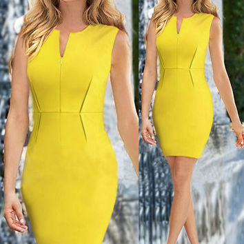 Sleeveless Zipper Front Sheath Mini Dress