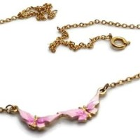 Vintage Pink Enamel Butterflies Butterfly Chocker Necklace - 15 inches