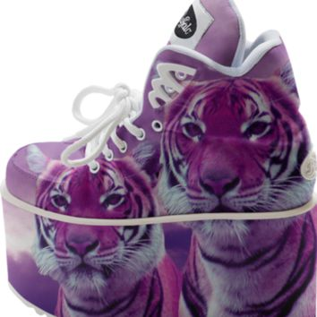 Purple Tigers Buffalo Platform Shoes created by ErikaKaisersot | Print All Over Me