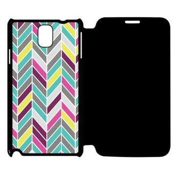 Full Color Chevron Samsung Galaxy Note 4 Flip Case Cover