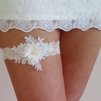 Free Shipping Champagne ivory flower garter belt wedding bridal prom party bellydance rustic