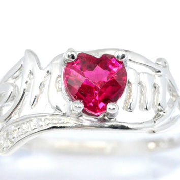 0.50 Ct Ruby Checkerboard Heart MOM Diamond Ring Sterling Silver Rhodium Finish White Gold Quality