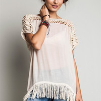 Frayed Knit Crochet Tunic - Natural