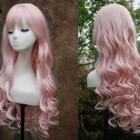 long pink curly hair curly pink cosplay hair pink lolita hair pretty princess hair masquerade party cosplay