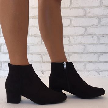 Rhythm of the Night Suede Booties in Black