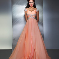 Mac Duggal Prom 2013- Peach Gown With Silver Straps And Along Waist - Unique Vintage - Cocktail, Pinup, Holiday & Prom Dresses.