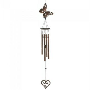 Butterfly and Heart Wind Chimes - 31.5 inches