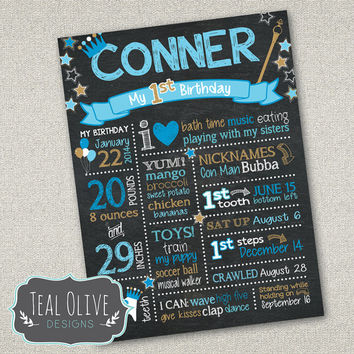 Chalkboard Birthday Sign - First Birthday chalkboard - Birthday Sign - Prince Birthday - Digital Print