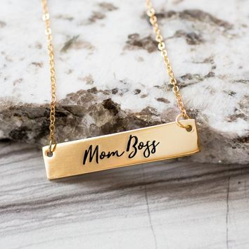 Mom Boss Gold / Silver Bar Necklace