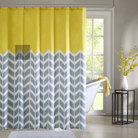 Home Essence Apartment Darcy 100% Microfiber Printed Shower Curtain, Yellow