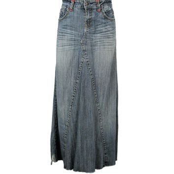 Denim Maxi Skirt Vintage One-of-a-Kind Style Recycled GOODTIME  Jeans Maxi Skirt M