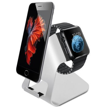 Apple Watch Stand Aluminum 2-in-1 Charging Stand Holder Dock for Watch/Phone New