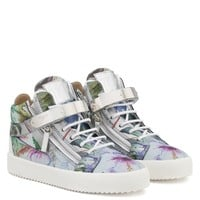 Giuseppe Zanotti Gz Spring Silver Shooting Mid-top Sneaker With Printed Flowers - Best Deal Online