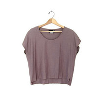 vintage boxy taupe blouse. loose fit shirt. cropped minimalist top + cap sleeves.
