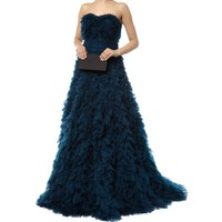 Marchesa Ruffled Strapless Gown | Harrods