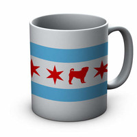 Chicago Flag Pug Ceramic Mug  - Chicago Coffee Mug - Pug Mug - Pug Coffee Mug - Coffee Cup - Pug Lover gift - Chicago Pug gift - pug lover