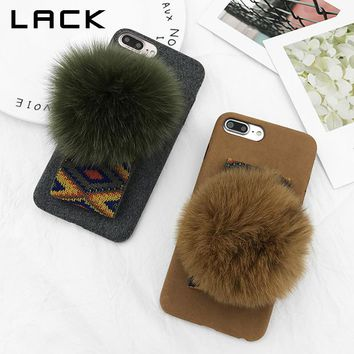 LACK Luxury Rabbit Fur Ball Phone Case For iphone 8 Case Fashion Retro Winter Warm Fuzzy Back Cover For iphone 8 Plus Cases Capa